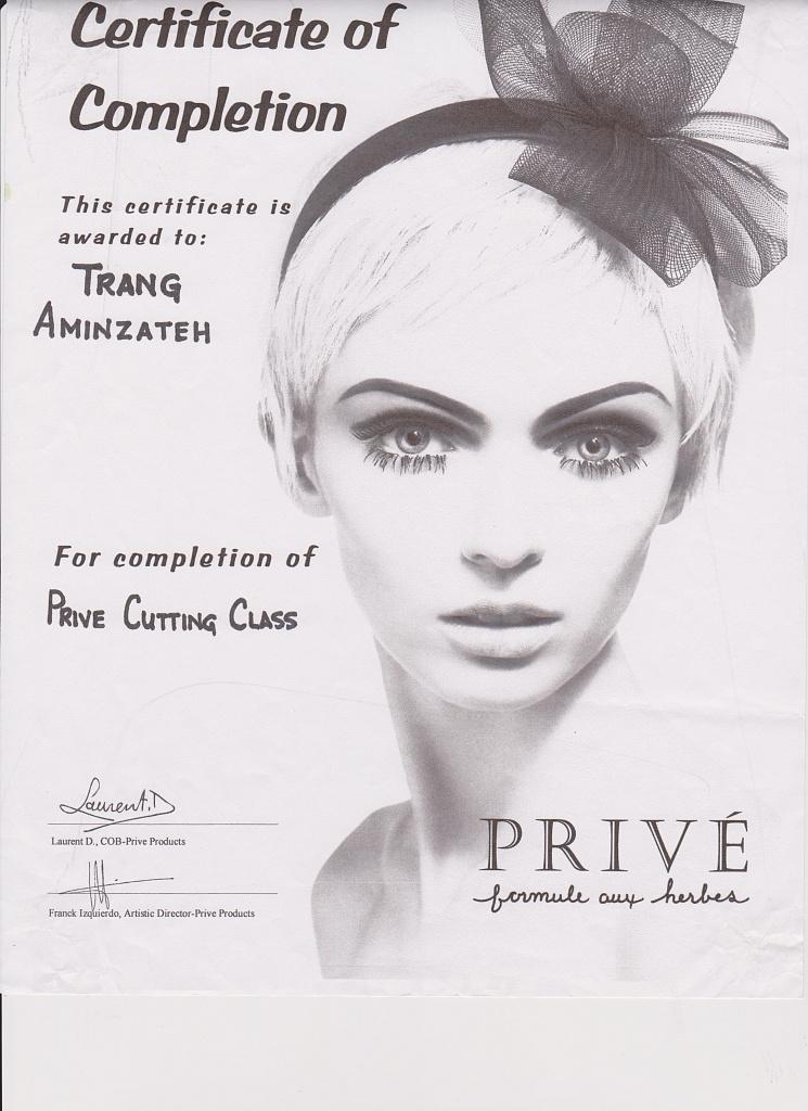 Certification: Prive Cutting Class
